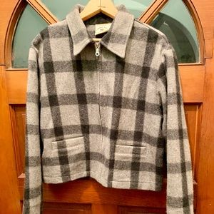 Checked Plaid Wool Blend Cropped Mechanic Jacket